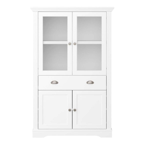 Steens Venice 4 Door 1 Drawer Display Cabinet MDF White - Wall Shelves Direct