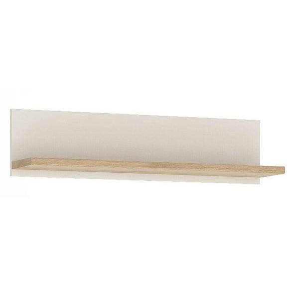 Amazon 81cm Wall Shelf In Light Oak White High Gloss Wall Mountable Display Unit - Wall Shelves Direct