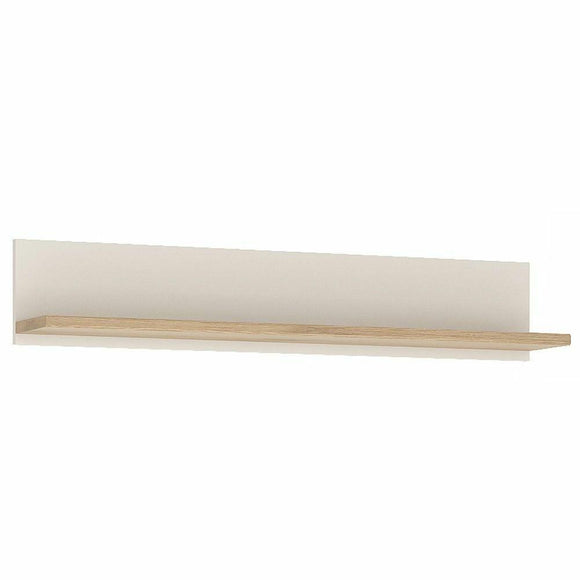 Amazon 110cm Wall Shelf In Light Oak White High Gloss Wall Mounted Display Unit - Wall Shelves Direct
