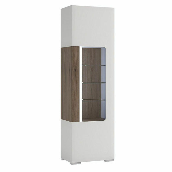 Toronto Modern Tall Narrow 1 Door Display Cabinet Internal Shelving LED Lighting - Wall Shelves Direct