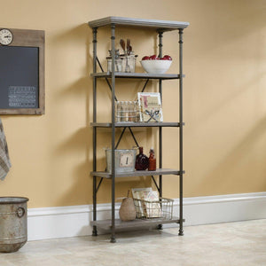 Canal Heights Northern Oak Finish Vintage 4 Shelf Bookcase Shelving Display Unit - Wall Shelves Direct