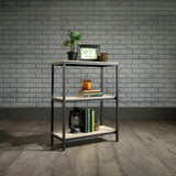 Industrial Style 2 Shelf Bookcase Black Steel Frame with Oak Effect Shelves Unit - Wall Shelves Direct