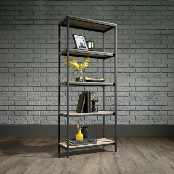Industrial Style 4 Shelf Bookcase Black Steel Frame with Oak Effect Shelves Unit - Wall Shelves Direct