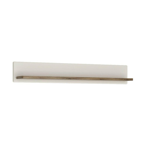 Toledo 138cm Wall Shelf in Alpine White and Stirling Oak - Wall Shelves Direct