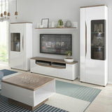Toledo Alpine White 1 Door Low Display Cabinet (LH) - High Gloss Fronts & Oak - Wall Shelves Direct