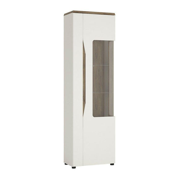 Toledo Alpine White 1 Door Display Cabinet (RH) High Gloss Fronts & Stirling Oak - Wall Shelves Direct