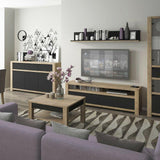 Havana 150cm Long Wall Shelf in Lefkas Oak with Matt Black Front - Wall Shelves Direct