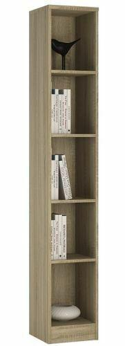 4 You Sonoma Oak Home Living Furniture Tall Narrow Bookcase 4 Shelf Storage Unit - Wall Shelves Direct