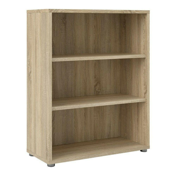 Prima Modern Medium Wide Bookcase In Sonoma Oak with 2 Shelves - Wall Shelves Direct