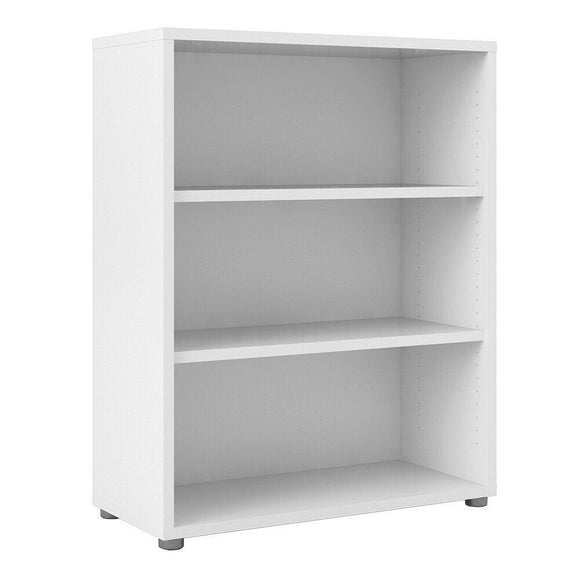 Prima Modern Medium Wide Bookcase In White with 2 Shelves - Wall Shelves Direct