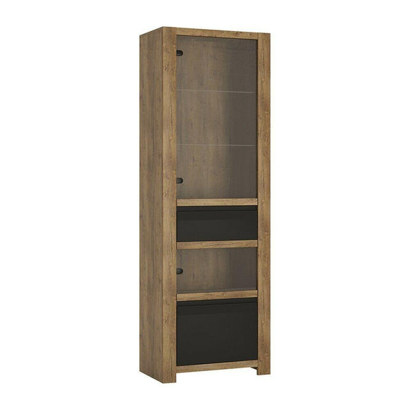 Havana 1 Door 1 Drawer Display Cabinet Shelving Unit - Lefkas Oak & Black Fronts - Wall Shelves Direct