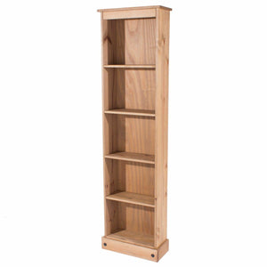 Corona Pine Bookcase Narrow Tall Solid Wood Mexican Adjustable Shelves & Storage - Wall Shelves Direct