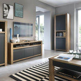 Havana 2 Door Tall Cupboard Shelving Unit - Open Shelf - Lefkas Oak & Matt Black - Wall Shelves Direct