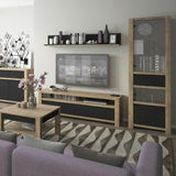 Havana 2 Door Display Cabinet Shelving Unit in Lefkas Oak & Matt Black Fronts - Wall Shelves Direct