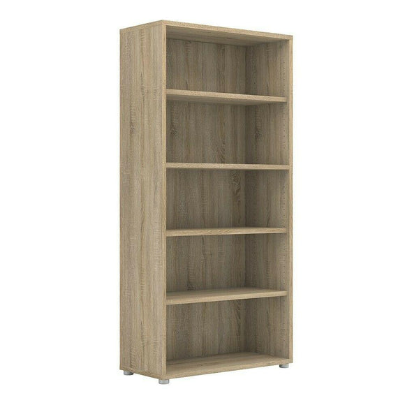 Prima Modern Large Tall Wide Bookcase Shelving Unit In Sonoma Oak with 4 Shelves - Wall Shelves Direct