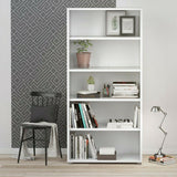 Prima Modern Large Tall Wide Bookcase Shelving Unit In White with 4 Shelves - Wall Shelves Direct