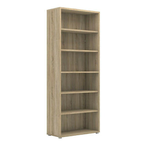 Prima Modern Large Tall Wide Bookcase Shelving Unit In Sonoma Oak with 5 Shelves - Wall Shelves Direct