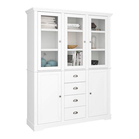 Steens Venice 5 Door 4 Drawer Display Cabinet MDF White - Wall Shelves Direct
