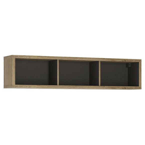 Shetland Wide 136cm Wall Shelf in Oak & Graphite - Wall Shelves Direct