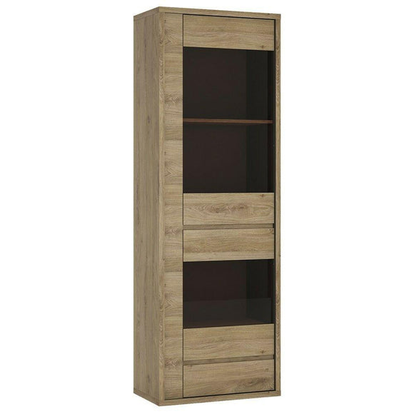Shetland Modern 1 Door 1 Drawer Narrow Glazed Display Cabinet Unit In Oak - Wall Shelves Direct
