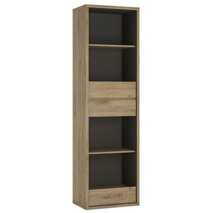 Shetland Modern Tall Narrow 3 Drawer Bookcase Shelving Unit in Oak & Graphite - Wall Shelves Direct