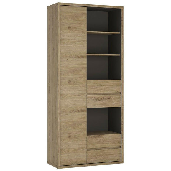 Shetland Tall Wide 1 Door 4 Drawer Bookcase Cupboard Storage Display Unit in Oak - Wall Shelves Direct
