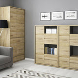 Shetland 1 Door 4 Drawer Display Cabinet Unit Shelving Cupboard Unit in Oak - Wall Shelves Direct