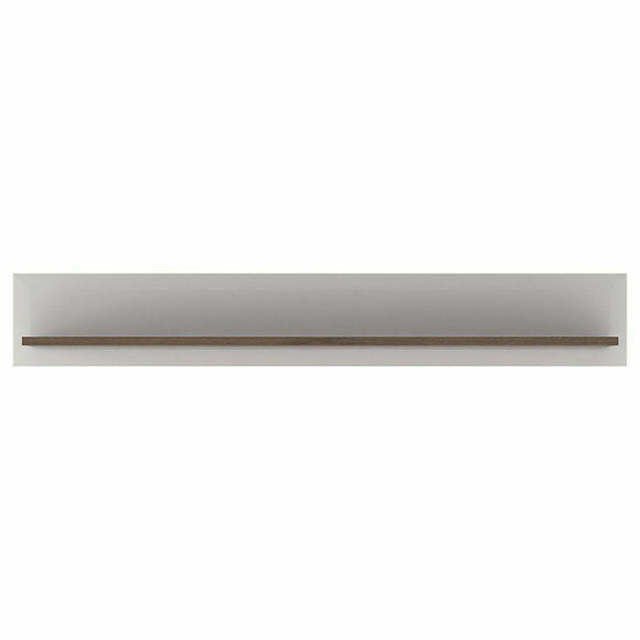 FTG Toronto Modern Wall Shelf White Gloss & Rivera Oak -165 cm Wide - Wall Shelves Direct