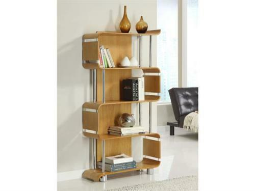 Curved Oak Chrome Designer Bookcase by Jual Furnishings BS201 - Wall Shelves Direct