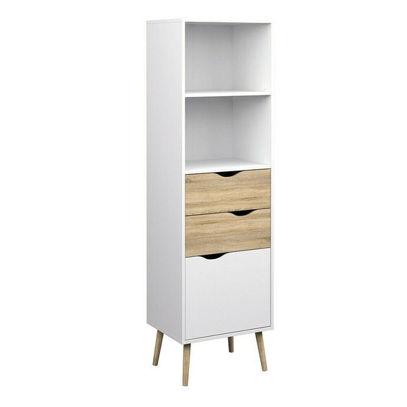 Oslo Retro Spindle Style Bookcase 2 Drawers 1 Door in White and Oak - Wall Shelves Direct