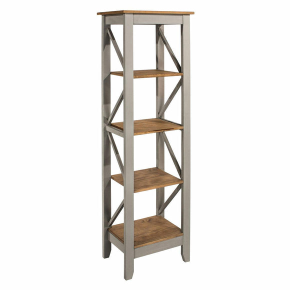 Premium Corona Grey Washed 5 Tier Narrow Bookcase Shelving Shelf Unit - Wall Shelves Direct