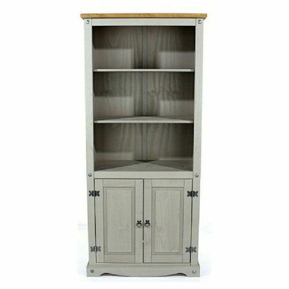 Premium Corona Grey Washed Bookcase Pine 2 Door + Shelves Mexican Display Unit - Wall Shelves Direct