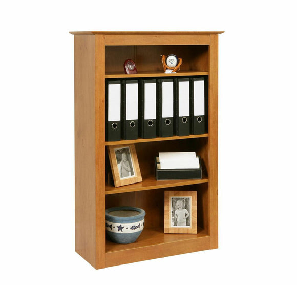 Traditional 4 Shelf Bookcase Solid Build Antique Pine Book Shelves Display Unit - Wall Shelves Direct