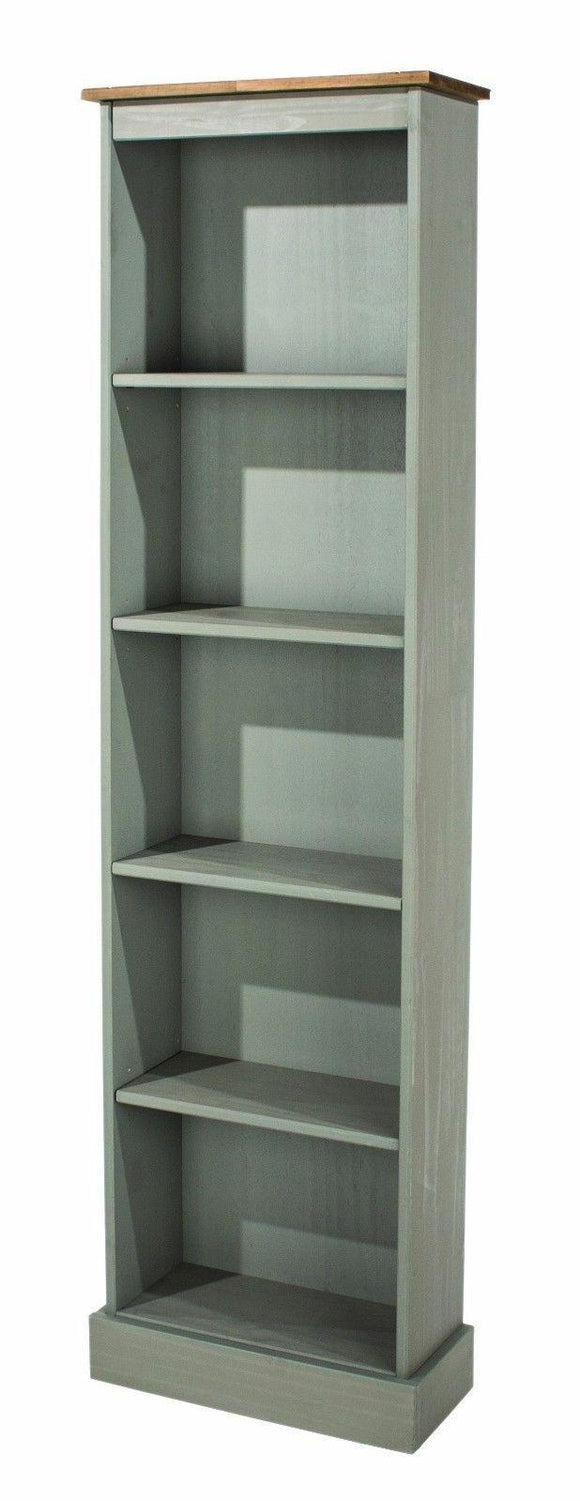 Premium Corona Grey Washed Tall Narrow Bookcase in Solid Pine - Wall Shelves Direct