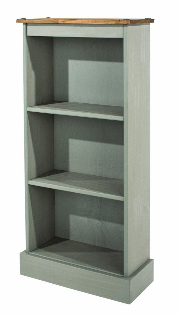 Premium Corona Grey Washed Low Narrow Bookcase in Solid Pine - Wall Shelves Direct
