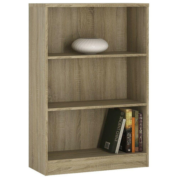 4You Sonoma Oak Home Living Furniture Medium Wide Bookcase 2 Shelf Storage Unit - Wall Shelves Direct