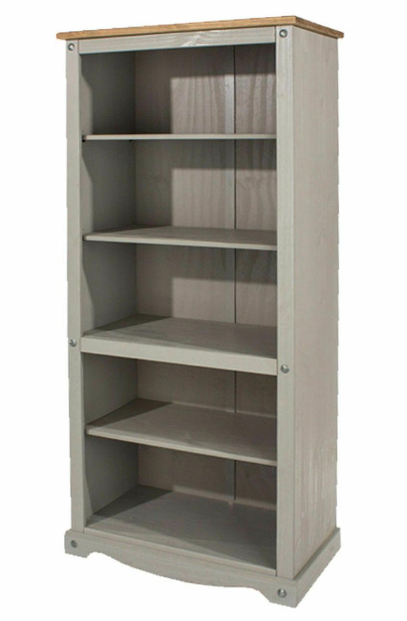 Corona Grey Washed Open Bookcase Shelving Unit in Solid Pine Adjustable Shelves - Wall Shelves Direct