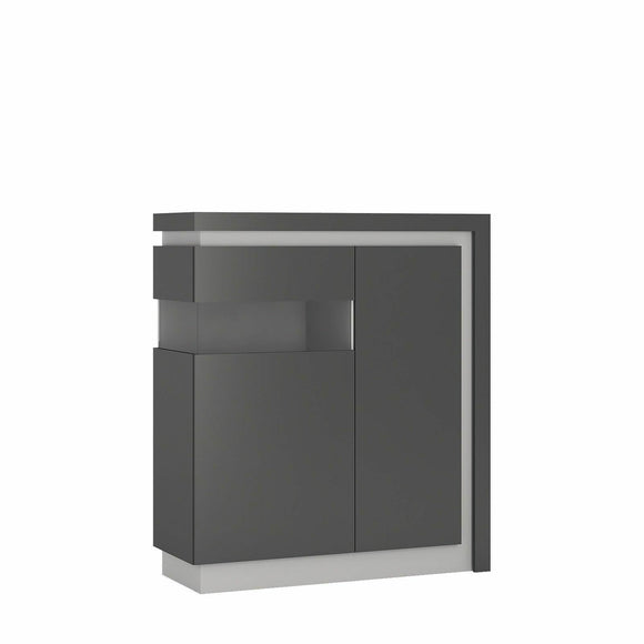 Lyon 2 Door Modern Display Cabinet Unit Platinum & Grey Gloss LED Lighting (LH) - Wall Shelves Direct