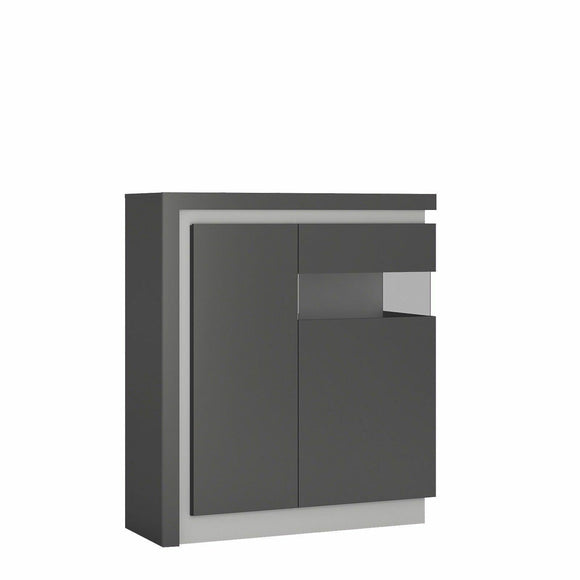 Lyon 2 Door Modern Display Cabinet Unit Platinum & Grey Gloss (RH) LED Lighting - Wall Shelves Direct