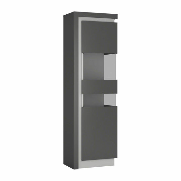 Lyon Tall Narrow 60cm Display Cabinet Unit Platinum & Grey Gloss LED Lighting - Wall Shelves Direct