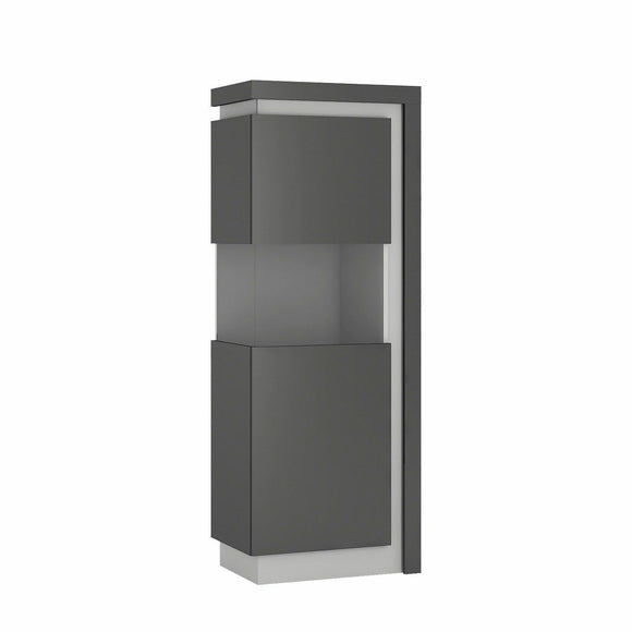Lyon Modern Narrow 60cm Display Cabinet Unit Platinum & Grey Gloss LED Lighting - Wall Shelves Direct