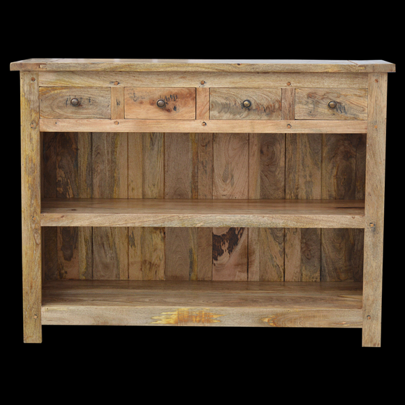Granary Royale Low Bookcase With 4 Drawers - Wall Shelves Direct