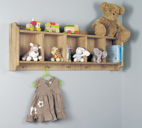 Baumhaus Amelie Oak Wall Shelf with Hanging Pegs - CCO01A - Wall Shelves Direct