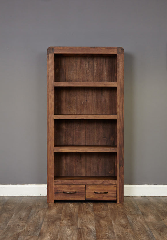 Baumhaus Shiro Walnut Large 2 Drawer Bookcase - CDR01A - Wall Shelves Direct