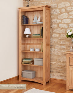 Baumhaus Roscoe Contemporary Oak Large Bookcase - Wall Shelves Direct