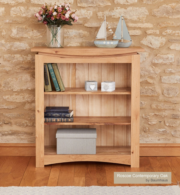Baumhaus Roscoe Contemporary Oak Small Bookcase - Wall Shelves Direct