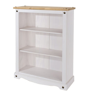 Core Products Corona White Washed Wax Effect Pine Low Bookcase With Adjustable Shelves - Wall Shelves Direct