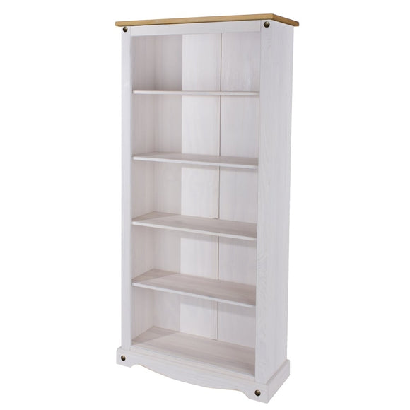 Core Products Corona White Washed Wax Effect Pine Tall Bookcase - Wall Shelves Direct