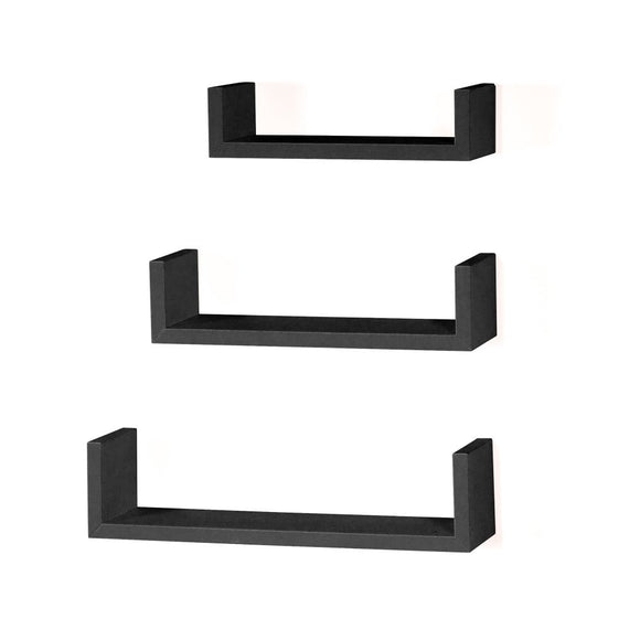 Core Products Hudson Foiled Matt Black Floating 'U' Shape Shelf Kit - Wall Shelves Direct
