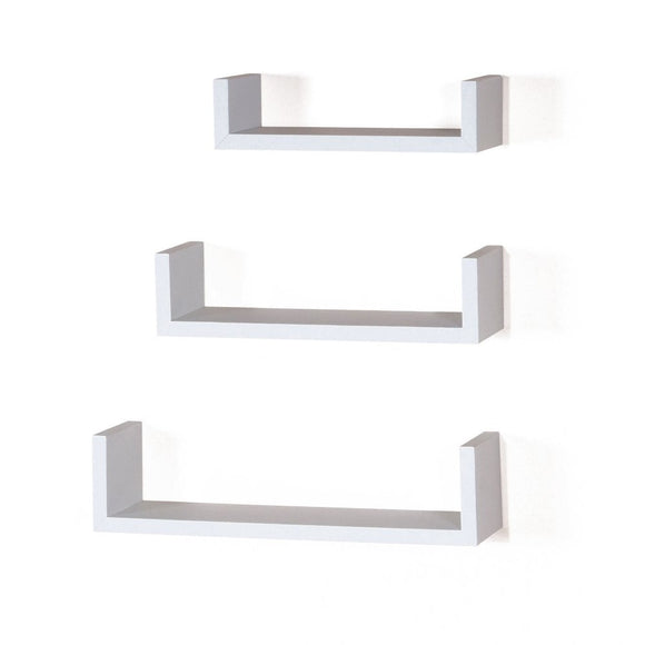 Core Products Hudson Foiled Matt White Floating 'U' Shape Shelf Kit - Wall Shelves Direct